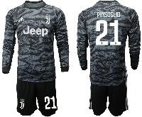 Mens 19-20 Soccer Juventus Club #21 Pinsoglio Black Goalkeeper Long Sleeve Suit Jersey