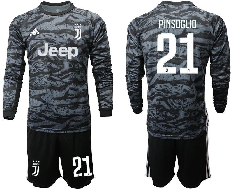 Mens 19-20 Soccer Juventus Club #21 Pinsoglio Black Goalkeeper Long Sleeve Suit Jersey