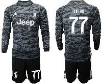 Mens 19-20 Soccer Juventus Club #77 Buffon Black Goalkeeper Long Sleeve Suit Jersey