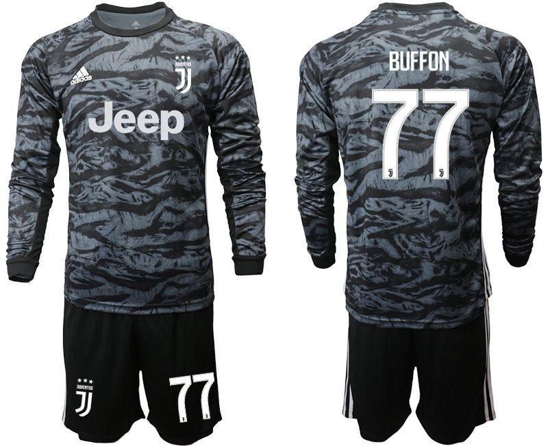 Mens 19-20 Soccer Juventus Club #77 Buffon Black Goalkeeper Long Sleeve Suit Jersey