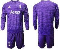 Mens 19-20 Soccer Juventus Club( Blank ) Purple Goalkeeper Long Sleeve Suit Jersey
