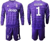Mens 19-20 Soccer Juventus Club #1 Szczesny Purple Goalkeeper Long Sleeve Suit Jersey
