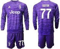 Mens 19-20 Soccer Juventus Club #77 Buffon Purple Goalkeeper Long Sleeve Suit Jersey