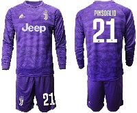 Mens 19-20 Soccer Juventus Club #21 Pinsoglio Purple Goalkeeper Long Sleeve Suit Jersey