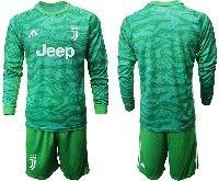 Mens 19-20 Soccer Juventus Club( Blank ) Green Goalkeeper Long Sleeve Suit Jersey