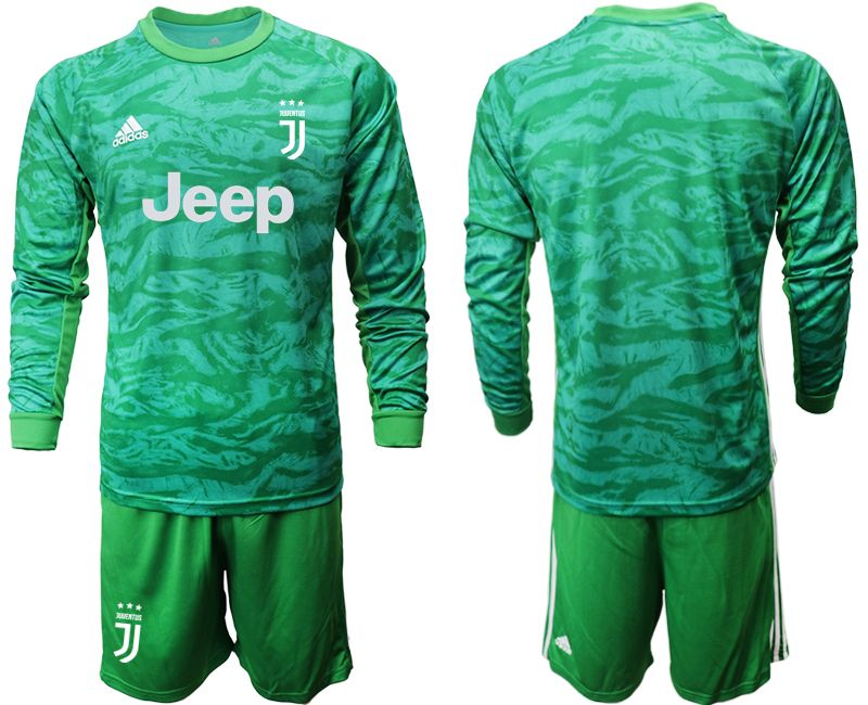 Mens 19-20 Soccer Juventus Club( Blank ) Green Goalkeeper Long Sleeve Suit Jersey