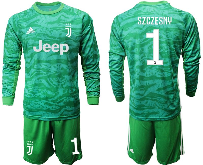Mens 19-20 Soccer Juventus Club #1 Szczesny Green Goalkeeper Long Sleeve Suit Jersey