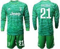 Mens 19-20 Soccer Juventus Club #21 Pinsoglio Green Goalkeeper Long Sleeve Suit Jersey
