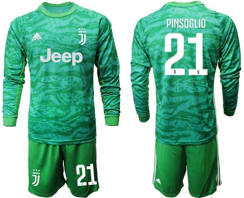 Mens 19-20 Soccer Juventus Club #21 Pinsoglio Green Goalkeeper Long Sleeve Suit Jersey