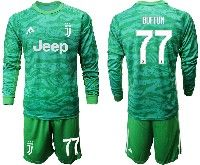 Mens 19-20 Soccer Juventus Club #77 Buffon Green Goalkeeper Long Sleeve Suit Jersey