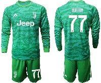 Mens 19-20 Soccer Juventus Club #77 Buffon Green Goalkeeper Long Sleeve Suit Jersey