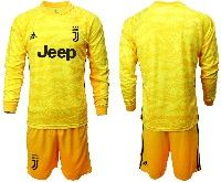 Mens 19-20 Soccer Juventus Club( Blank ) Yellow Goalkeeper Long Sleeve Suit Jersey