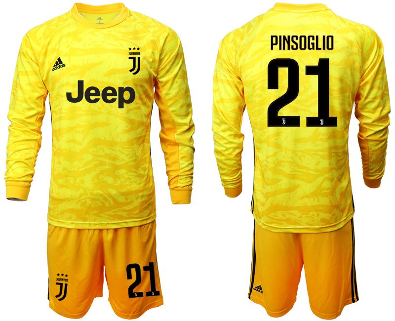 Mens 19-20 Soccer Juventus Club #21 Pinsoglio Yellow Goalkeeper Long Sleeve Suit Jersey