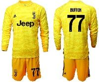 Mens 19-20 Soccer Juventus Club #77 Buffon Yellow Goalkeeper Long Sleeve Suit Jersey