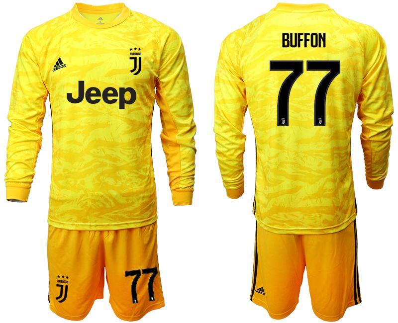 Mens 19-20 Soccer Juventus Club #77 Buffon Yellow Goalkeeper Long Sleeve Suit Jersey