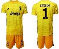 Mens 19-20 Soccer Juventus Club #1 Szczesny Yellow Goalkeeper Short Sleeve Suit Jersey
