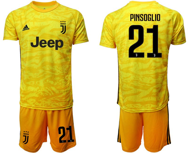 Mens 19-20 Soccer Juventus Club #21 Pinsoglio Yellow Goalkeeper Short Sleeve Suit Jersey