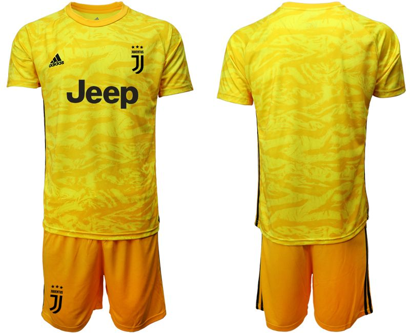 Mens 19-20 Soccer Juventus Club( Blank ) Yellow Goalkeeper Short Sleeve Suit Jersey