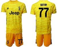 Mens 19-20 Soccer Juventus Club #77 Buffon Yellow Goalkeeper Short Sleeve Suit Jersey