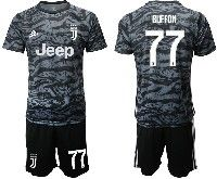 Mens 19-20 Soccer Juventus Club #77 Buffon Black Goalkeeper Short Sleeve Suit Jersey