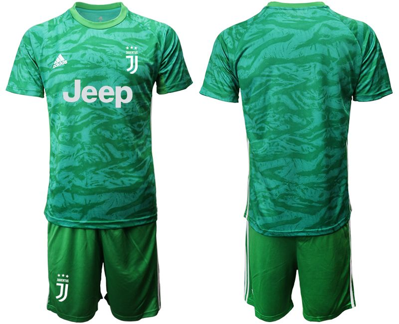 Mens 19-20 Soccer Juventus Club( Blank ) Green Goalkeeper Short Sleeve Suit Jersey