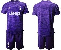 Mens 19-20 Soccer Juventus Club( Blank ) Purple Goalkeeper Short Sleeve Suit Jersey