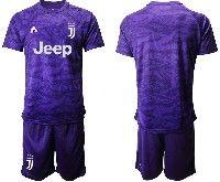 Mens 19-20 Soccer Juventus Club( Blank ) Purple Goalkeeper Short Sleeve Suit Jersey