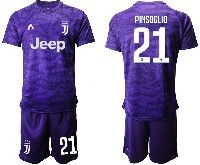Mens 19-20 Soccer Juventus Club #21 Pinsoglio Purple Goalkeeper Short Sleeve Suit Jersey