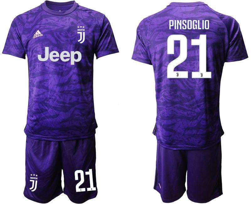 Mens 19-20 Soccer Juventus Club #21 Pinsoglio Purple Goalkeeper Short Sleeve Suit Jersey