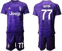 Mens 19-20 Soccer Juventus Club #77 Buffon Purple Goalkeeper Short Sleeve Suit Jersey