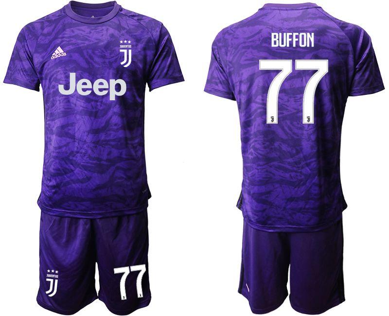 Mens 19-20 Soccer Juventus Club #77 Buffon Purple Goalkeeper Short Sleeve Suit Jersey