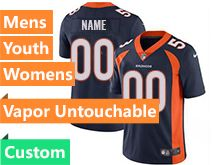 Mens Women Youth Nfl Denver Broncos Blue Custom Made Vapor Untouchable Limited Jersey