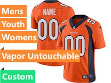 Mens Women Youth Nfl Denver Broncos Orange Custom Made Vapor Untouchable Limited Jersey