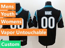 Mens Women Youth Nfl Carolina Panthers Black Custom Made Vapor Untouchable Limited Jersey