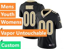 Mens Women Youth Nfl New Orleans Saints Black Custom Made Vapor Untouchable Limited Jersey