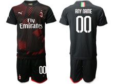 Mens 20-19 Soccer Ac Milan Club ( Custom Made ) Red And Black Second Away Short Sleeve Suit Jersey