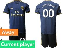 Mens 19-20 Soccer Arsenal Club Current Player Navy Blue Away Short Sleeve Suit Jersey