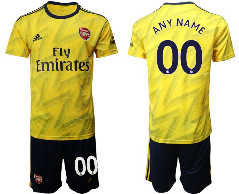 Mens 19-20 Soccer Arsenal Club Current Player Yellow Away Short Sleeve Suit Jersey