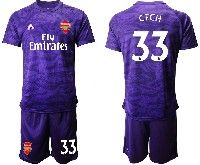Mens 19-20 Soccer Arsenal Club #33 Cech Purple Goalkeeper Short Sleeve Suit Jersey