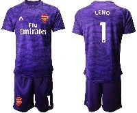 Mens 19-20 Soccer Arsenal Club #1 Leno Purple Goalkeeper Short Sleeve Suit Jersey