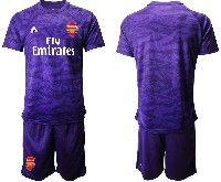 Mens 19-20 Soccer Arsenal Club Blank Purple Goalkeeper Short Sleeve Suit Jersey