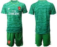 Mens 19-20 Soccer Arsenal Club Blank Green Goalkeeper Short Sleeve Suit Jersey