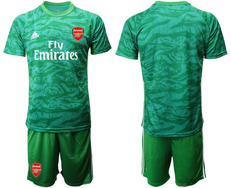 Mens 19-20 Soccer Arsenal Club Blank Green Goalkeeper Short Sleeve Suit Jersey