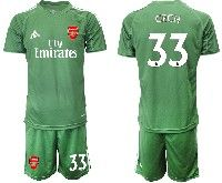 Mens 19-20 Soccer Arsenal Club #33 Cech Army Green Goalkeeper Short Sleeve Suit Jersey