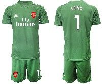 Mens 19-20 Soccer Arsenal Club #1 Leno Army Green Goalkeeper Short Sleeve Suit Jersey