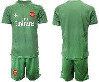 Mens 19-20 Soccer Arsenal Club Blank Army Green Goalkeeper Short Sleeve Suit Jersey