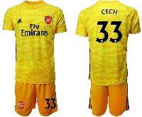 Mens 19-20 Soccer Arsenal Club #33 Cech Yellow Goalkeeper Short Sleeve Suit Jersey
