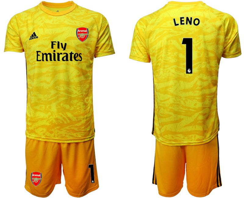 Mens 19-20 Soccer Arsenal Club #1 Leno Yellow Goalkeeper Short Sleeve Suit Jersey