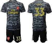 Mens 19-20 Soccer Arsenal Club #33 Cech Black Goalkeeper Short Sleeve Suit Jersey