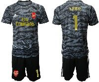Mens 19-20 Soccer Arsenal Club #1 Leno Black Goalkeeper Short Sleeve Suit Jersey